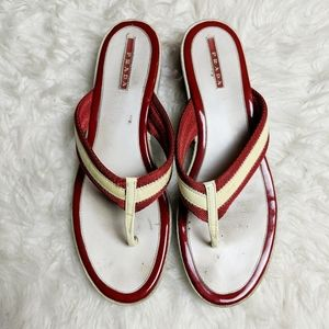 Prada Red & White Thong Heeled Sandal sz 40